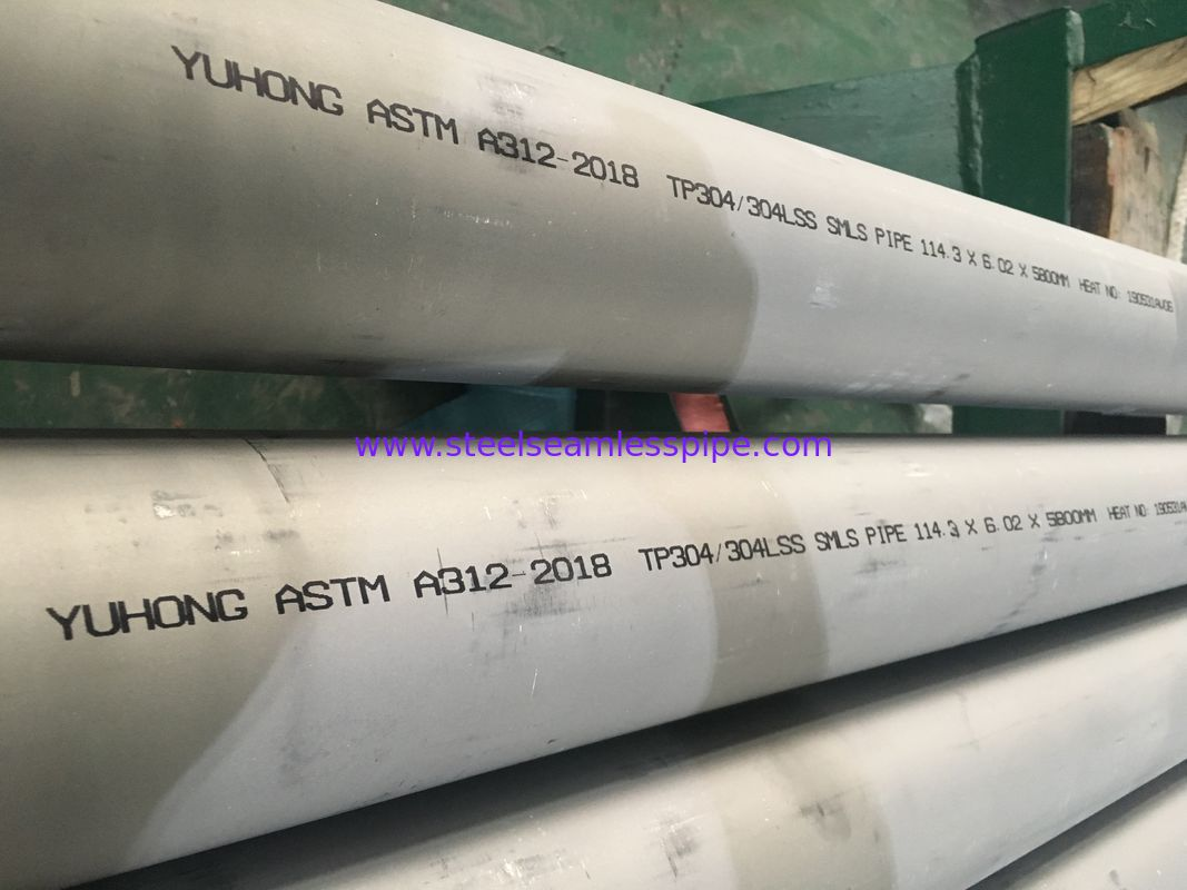 STAINLESS STEEL SEAMLESS PIPE PLAIN / BEVELED END ASTM A312 TP304/304L FOR HEAT EXCHANGERS